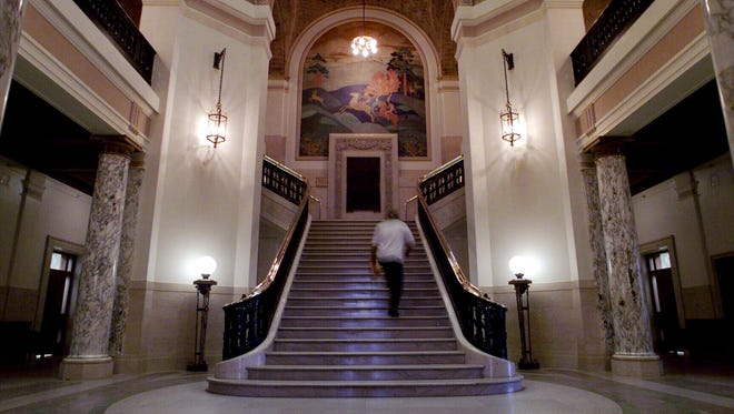 The interior of the Stearns County Courthouse is shown.
