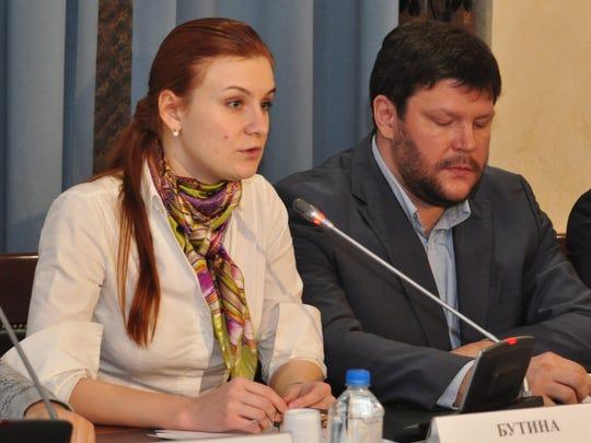 Fotografía facilitada por la Cámara de la Sociedad Civil de la Federación de Rusia que muestra a la ciudadana rusa acusada de actuar ilegalmente como agente del Kremlin Maria Butina, durante una conferencia celebrada en Moscú, Rusia.