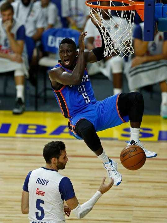 victor oladipo scores 34 in debut thunder fall to real. Black Bedroom Furniture Sets. Home Design Ideas