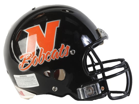 Northeastern football helmet.