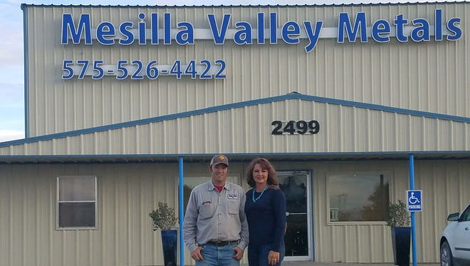 Casey Roberts, left, and Chanice Roberts in front of their business, Mesilla Valley Metals.