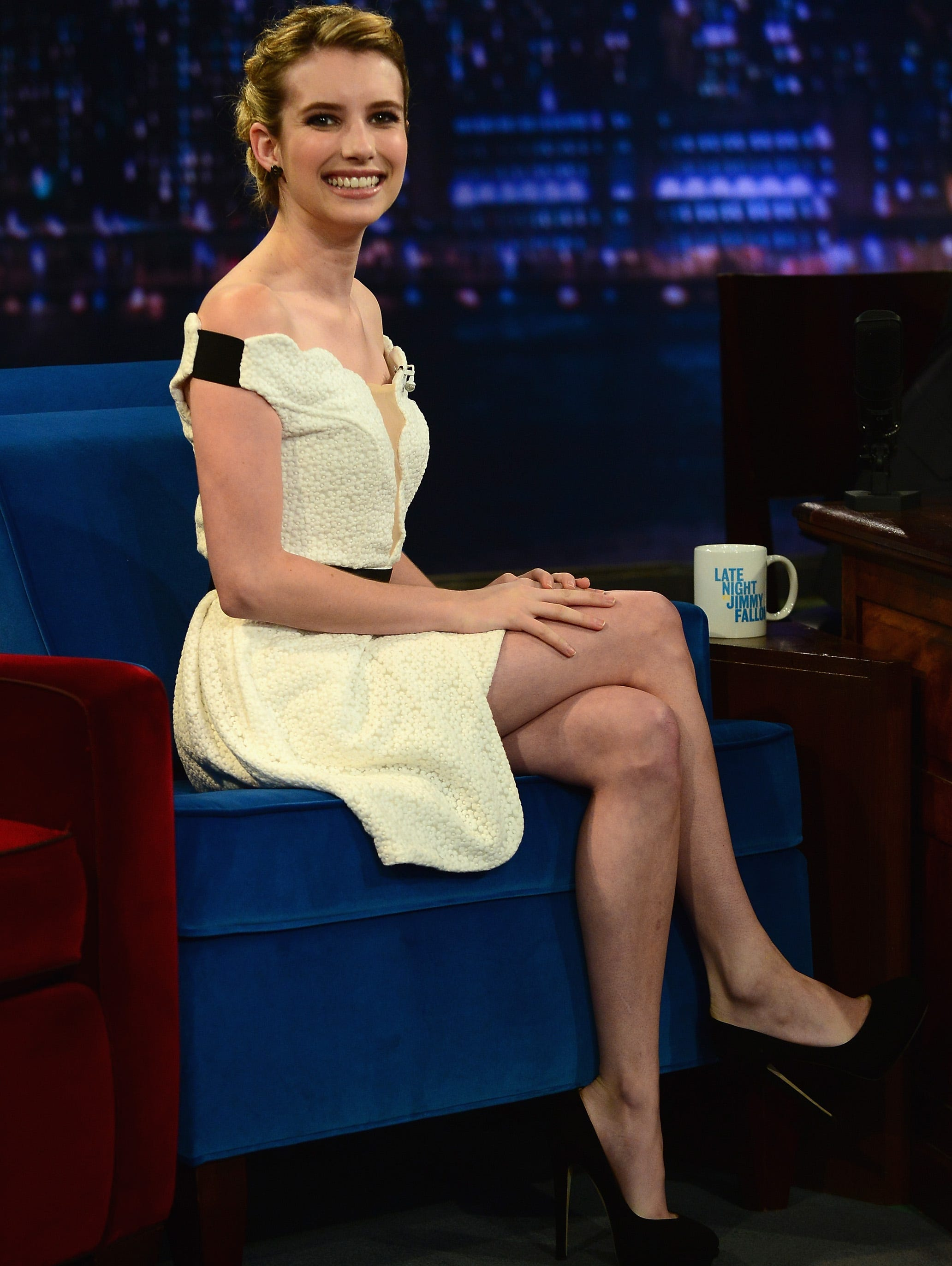 What's black and white and chic all over? Plenty of celebs these days. USA TODAY's Arienne Thompson rounds up the latest crop of stars making their marks in the classic color combo.   Actress  Emma Roberts is sitting pretty in a Three Floor dress and Jimmy Choo heels for her visit to 'Late Night With Jimmy Fallon' on Aug. 8.