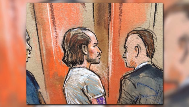 Nicholas Young, 36, of Fairfax, Va., left, made his first appearance Aug. 3, 2016, in U.S. District Court in Alexandria, Va., on charges of trying to provide material support to terrorism.