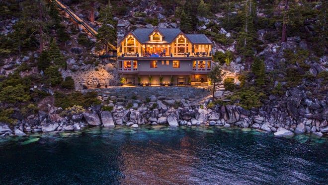 The lighted funicular descends to the beach house of the Crystal Pointe estate. At $75 million, it's currently (July 2017) the most expensive residential lakefront property ever offered for sale at Lake Tahoe.