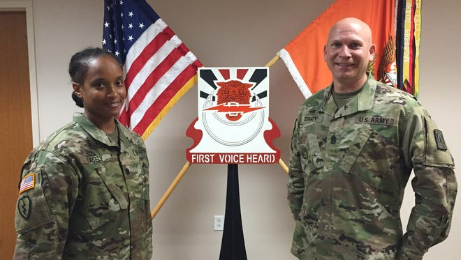 Lt. Col. Liz Casely, left, and Command Sgt. Maj. Mike Conaty are the command team for the 86th Expeditionary Signal Battalion.