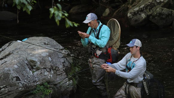 John Zimmerman and Taylor Sharp, fishing in the Cherokee
