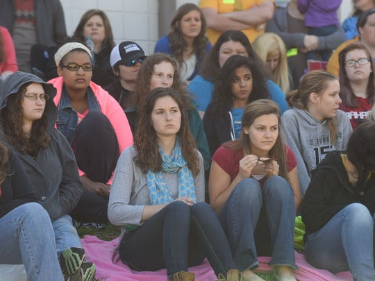 """Students watch the dramatization of """"The Last Dance"""" on Friday morning at Cotter High School. The reenactment of a drunk driving car crash is put on to teach students the devastation brought about by drunk driving and bad decisions."""