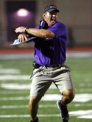 FILE – Tom Allen's sideline enthusiasm was evident during his days at Ben Davis, as seen in this 2006 photo.