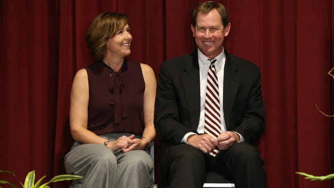 John Cohen, joined by his wife Nelle, was introduced Friday as Mississippi State's new athletic director.