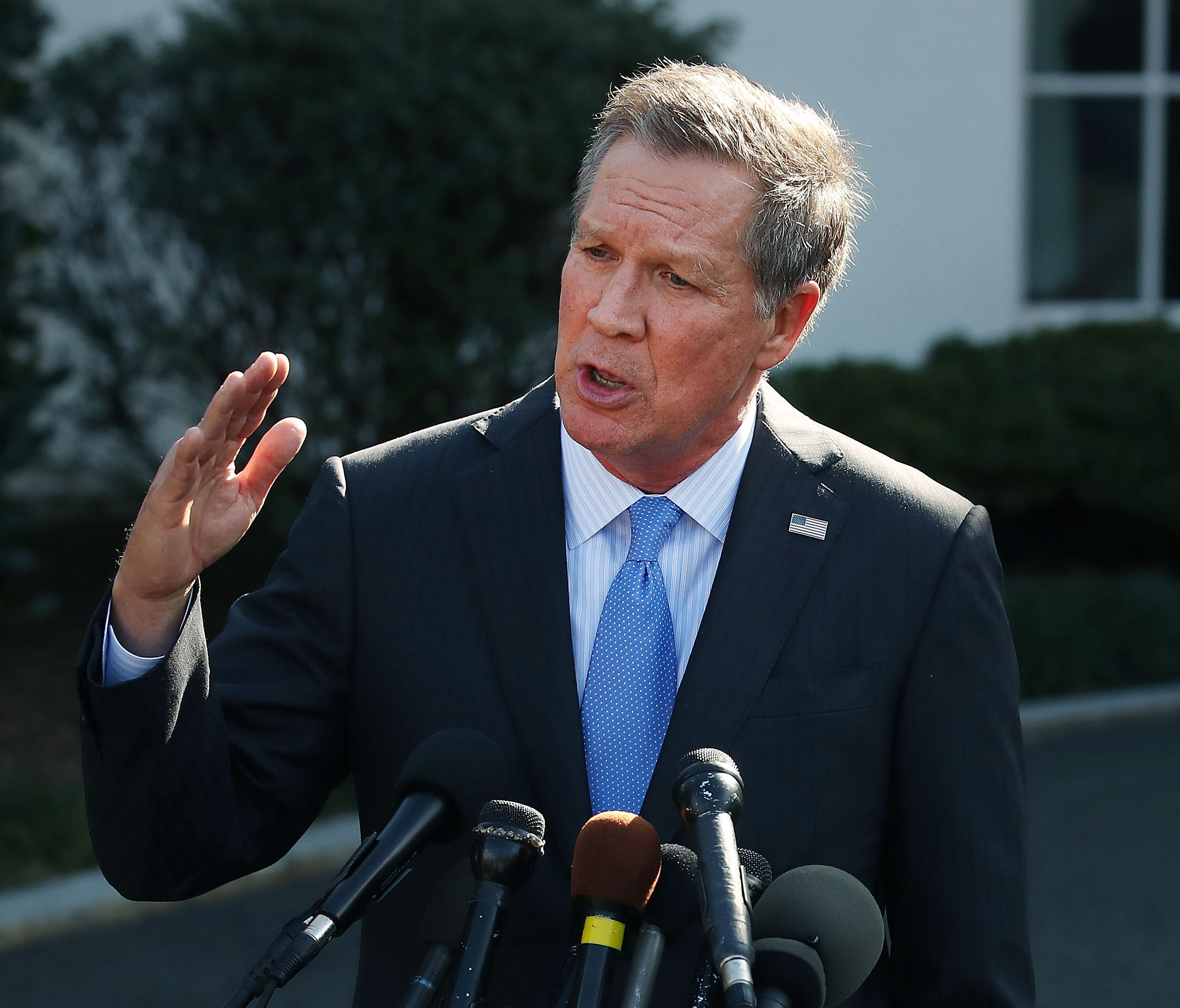 Ohio Governor John Kasich, R, speaks to reporters after a meeting with President Donald Trump Feb. 24, 2017.