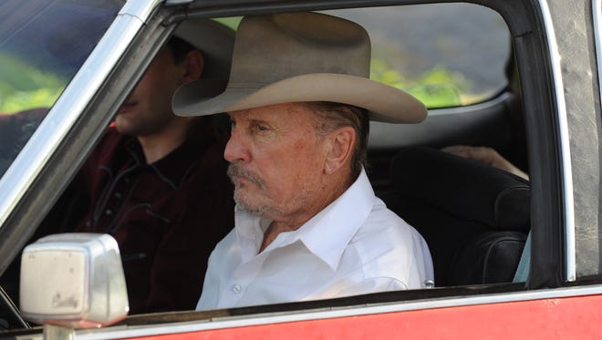 """A scene from """"?A Night in Old Mexico,?""""starring Robert Duvall. Forced to give up his land and home, Texas rancher Red Bovie isn't about to retire quietly in a dismal trailer park. Instead he hops in his Cadillac and hits the road with his estranged grandson for one last wild adventure filled with guns, women and booze."""