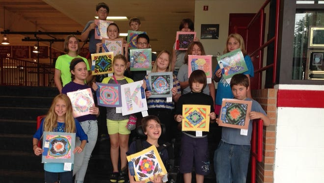 Flippin Middle School art students who received first places at the Marion County Fair are (first row, from left) Destiny Balentine and Ethan Morris (second row) Mariah Hudson, Corbin Hickerson and Eddie Cooper (third row) Katie Herron, Jordyn Fish, Spring Tressler and Sydney Cagle (fourth row) Brenna Metts, Mason Erisman, Hayden King and Savannah Hearn and (fifth row) Preston Hodges and Kaden Akins.