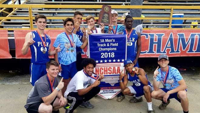 Polk County's track and field team celebrates a state title.
