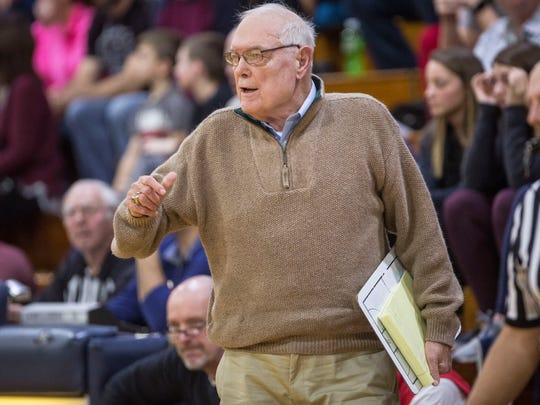 Jerry Hoover, Blackford's head coach, gives direction to the team during their game against Blue River on Dec. 2.