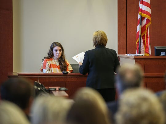 Shayna Hubers testifies in court Friday morning.