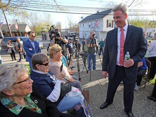Suspended Clarkstown Police Chief Michael Sullivan greets people during his press conference where he announces he is running for Clarkstown Supervisor at Congers Veterans Memorial Association in Congers April 17, 2017.