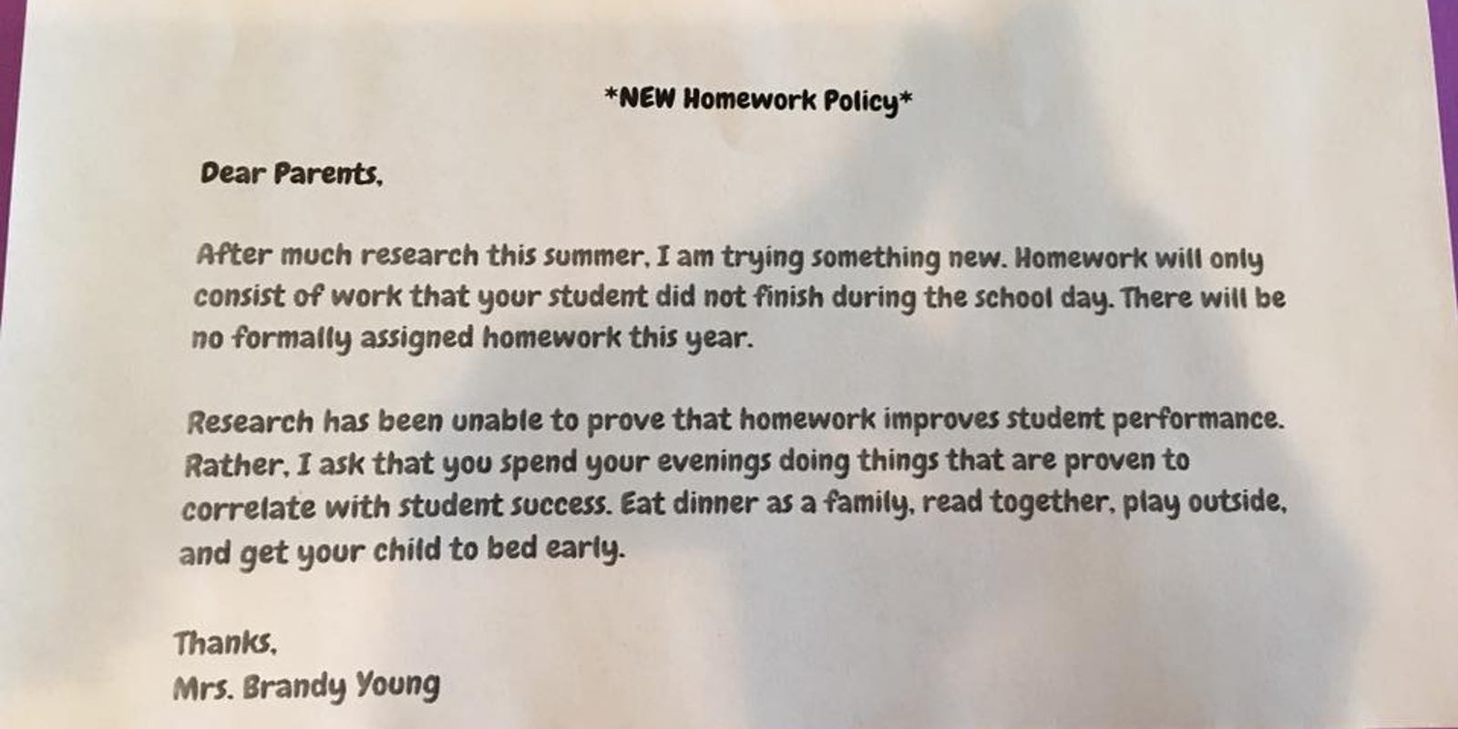 Texas teacher implements no-homework policy, the Internet rejoices
