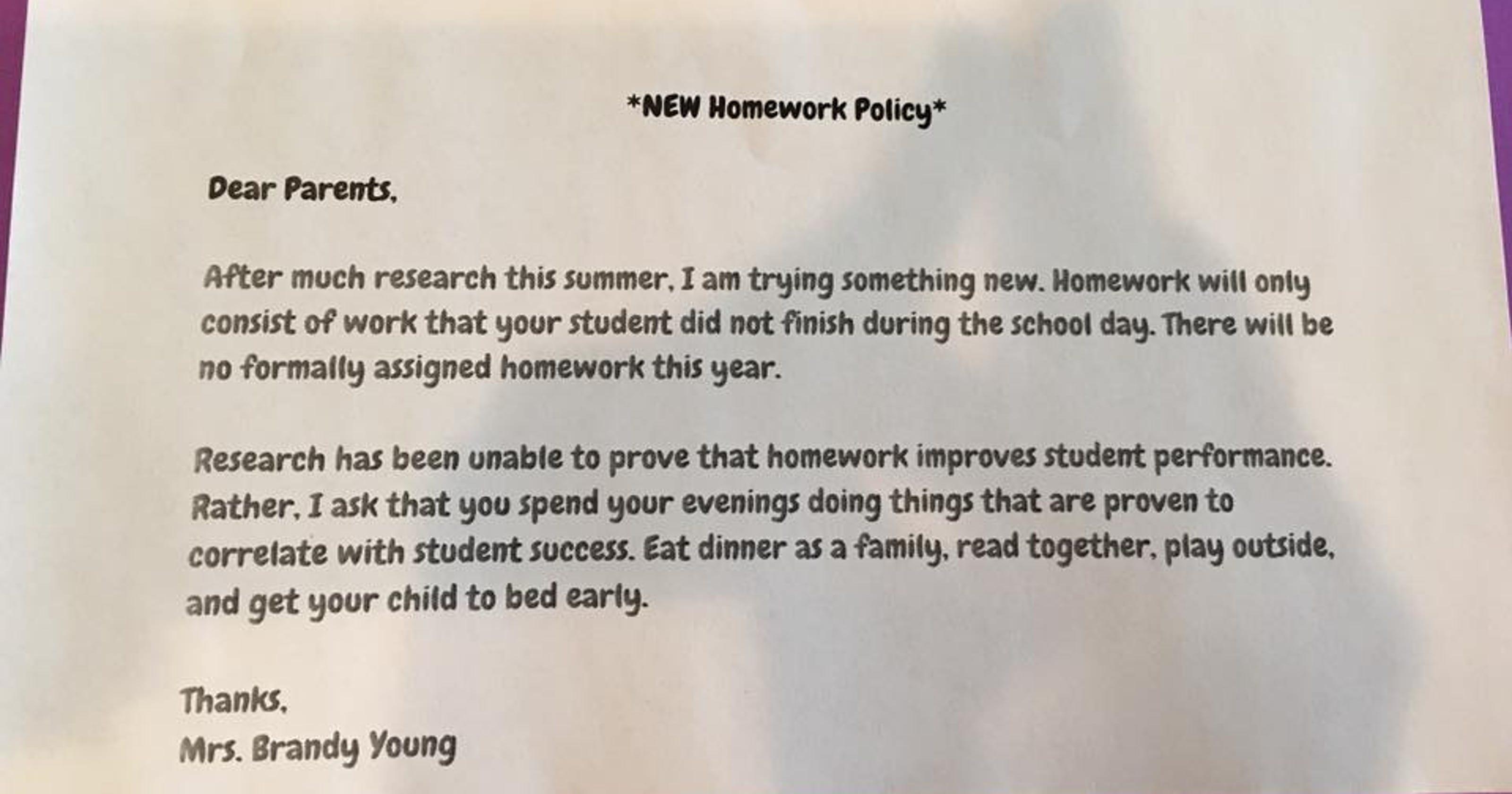 Down With Homework Teachers Viral Note >> Texas Teacher Implements No Homework Policy The Internet Rejoices