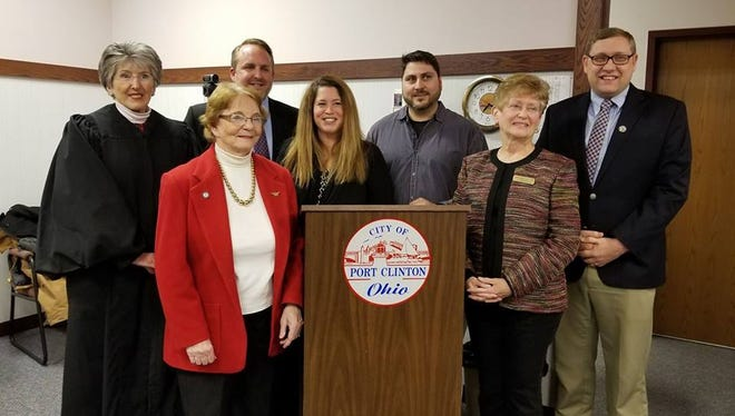Judge Kathleen Giesler of Ottawa County Probate and Juvenile Court recently swore in Port Clinton and county officials, from left, City Treasurer Edna Hansen; Fourth Ward City Councilman Gabe Below; First Ward City Councilman Beth Gillman; 2nd Ward City Councilman Brian Hild; Third Ward City Councilman Margaret J. Phillips, and County Auditor Larry Hartlaub.