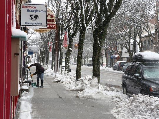 A snowy day on East Market Street in Rhinebeck on March