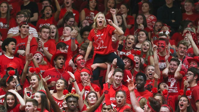 New Albany's student section yelled out 'We Have Spirit' as they and the Floyd Central student section exchanged cheers -- with a few insults -- during the Highlanders' 49-47 win Friday evening. It was the Highlanders' first win over New Albany in boys basketball since 2003.