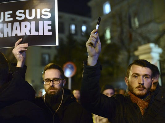 RALLY IN TRIBUTE TO THE VICTIMS OF CHARLIE HEBDO ATTACK, IN MADRID