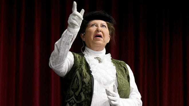 Susan Kahrl performs a one-woman show on Tuesday, portraying Harriet Beecher Stowe at Founders Auditorium on the campus of Ohio State University-Mansfield.