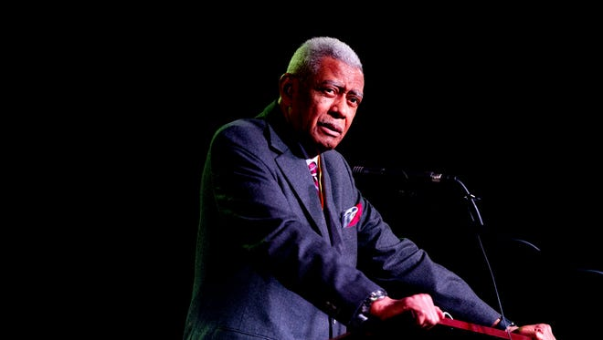 The Rev. Dr. Otis Moss Jr. speaks during a Martin Luther King Memorial Service program at Overcoming Believers Church in Knoxville, Tennessee on Monday, January 15, 2018.