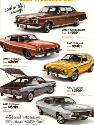 The AMC Ambassador was the top line luxury '74 AMC available in full size form. It came standard with a 304-V8 engine although 360 and a 401 V8s were also available. Shown here is the complete AMC line for 1974.