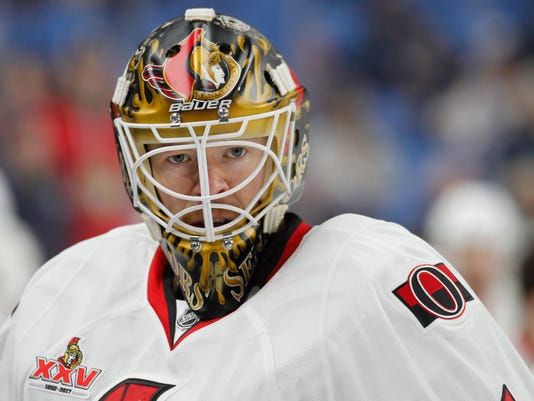 Ottawa Senators goalie Mike Condon looks on prior to an NHL hockey game against the Buffalo Sabres, Saturday Feb. 4, 2017, in Buffalo, N.Y. (AP Photo/Jeffrey T. Barnes)