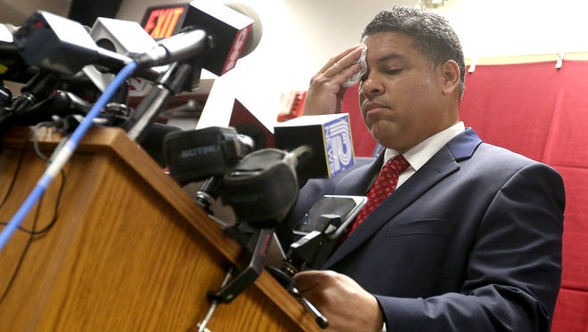 Dane County District Attorney Ismael Ozanne speaks during a press conference at the Dane County Public Safety Building in Madison on Tuesday. Ozanne said  that Madison police officer Matt Kenny would not face charges in the shooting death of 19-year-old Tony Robinson in March 2015. (John Hart/Wisconsin State Journal via AP)