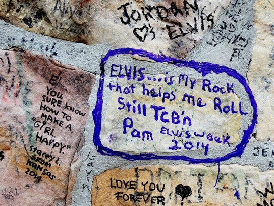 May 14, 2015 - Graffiti left by Elvis Presley fans