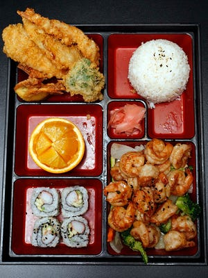 The Shrimp Bento Box at Rice & Roll in Nixa is a good way to try several dishes at once.