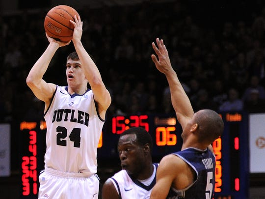 Butler guard Kellen Dunham takes a jump shot against Georgetown inside Hinkle Fieldhouse, Jan. 11, 2014, in Indianapolis.