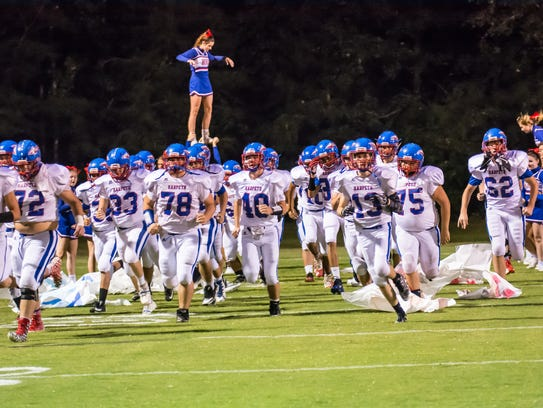 Harpeth takes the field prior to its game with Cheatham