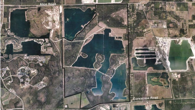 WildBlue, outlined in black, will contain 1,000 homes clustered around three lakes on 2,960 acres south of Alico Road and north of Corkscrew Road, east of Interstate 75.