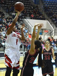 Hermleigh's Brishaya Sneed shoots a floater over Garden