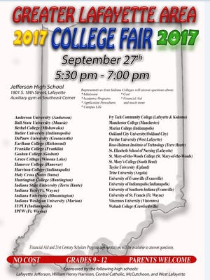 The college fair will be held on Sept. 27.