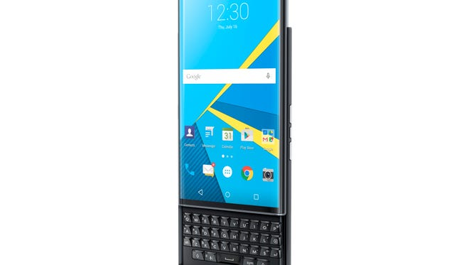 The BlackBerry Priv physical keyboard slides out.