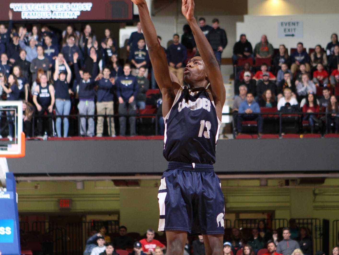 Our Lady of Lourdes High School's Kevin Townes puts up a 3-pointer against Tappan Zee in the Section 1 Class A boys final at the Westchester County Center in White Plains on Sunday.