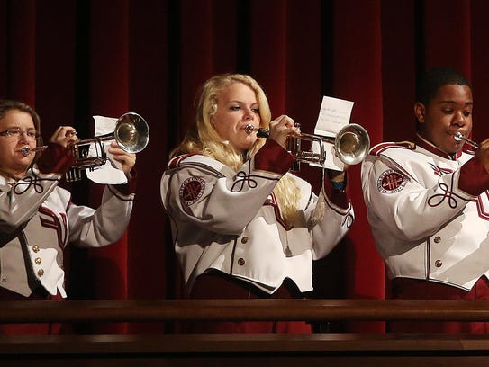 FSU trumpet players combine to play a tune during the
