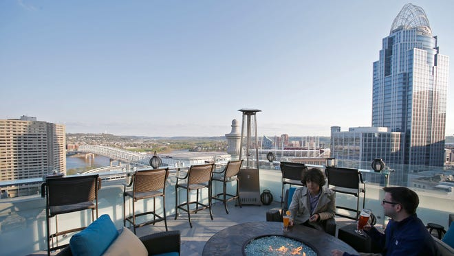Top of the Park, the rooftop terrace at the Marriott Residence Inn Cincinnati Downtown at the Phelps, expanded this season, adding a second level on a rooftop one floor up.