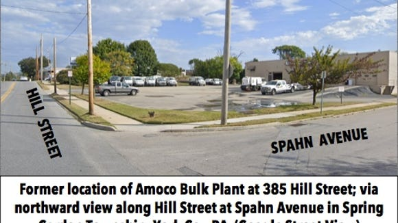 Former location of Amoco Bulk Plant at 385 Hill Street; via northward view along Hill Street at Spahn Avenue in Spring Garden Township, York Co., PA (Google Street View)