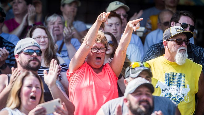 Daleville fans cheer on their team during their state final game at Victory Field Saturday, June 16, 2018.