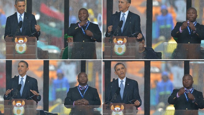 In these combination pictures taken Tuesday, President Obama delivers a speech next to a sign language interpreter during the memorial service for late South African President Nelson Mandela.