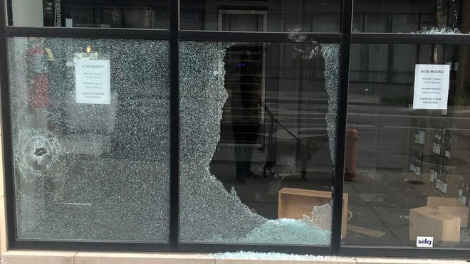 Damage to Winans Chocolates + Coffees in Downtown Columbus, pictured on Friday, May 29