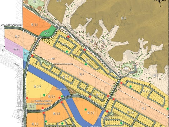 A site plan for Virada, a master-planned community proposed for North Indio in 2016. At the top, the light tan represents a public park, which replaces the golf course proposed for Fiesta de Vida.