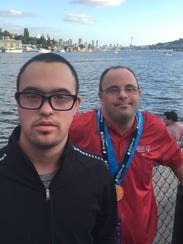 Special Olympians Taylor Rosenthal, left, and Danny Dasis, right, competed in the 2017 North American Golf Champion in Seattle Washington.