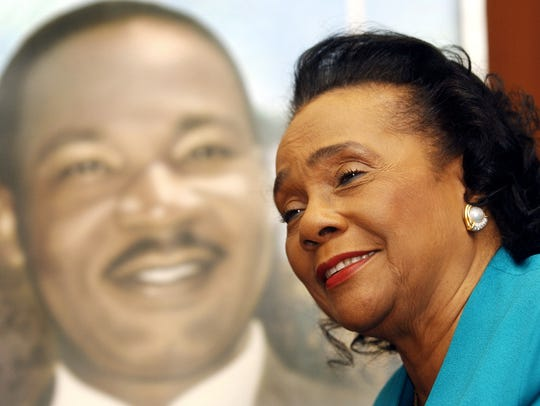 Coretta Scott King, widow of slain civil-rights leader Martin Luther King Jr., speaks during an interview at the King Center for Nonviolent Social Change in 2004.