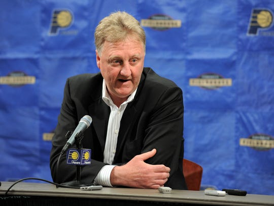 Indiana Pacers president Larry Bird talks to the media